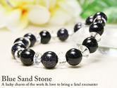 ブルーサンドストーン10mm×平玉水晶天然石ブレスレット