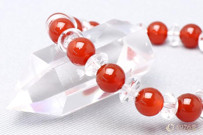 カーネリアン ブレスレット 水晶ボタン交互