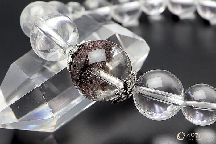 天然石ブレスレット 水晶・ガーデンクオーツ大玉メイン