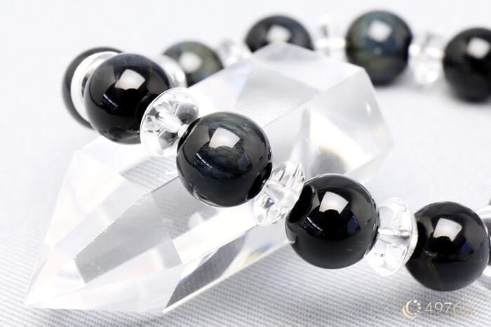 ホークスアイ ブレスレット 水晶ボタン交互10mm