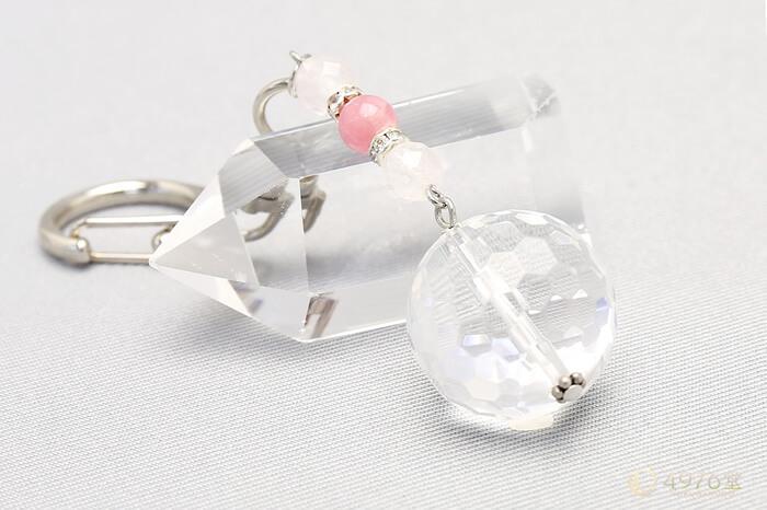 インカローズ・ローズクォーツ・水晶20mm キーホルダー