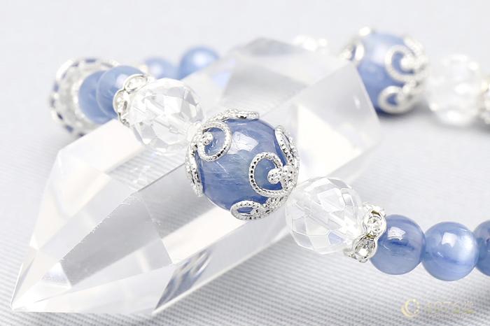カイヤナイト・水晶 ブレスレット キラメタル4ポイント