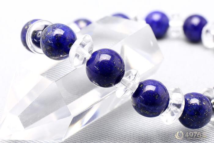 ラピスラズリ ブレスレット 水晶ボタン交互