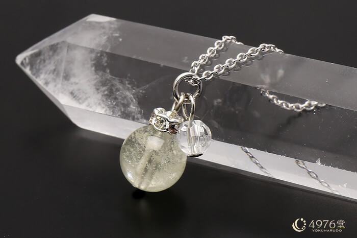 リビアングラス・水晶カット ネックレス