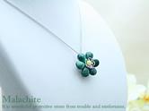 マラカイト×サーペンティン天然石ネックレス(花)38cm