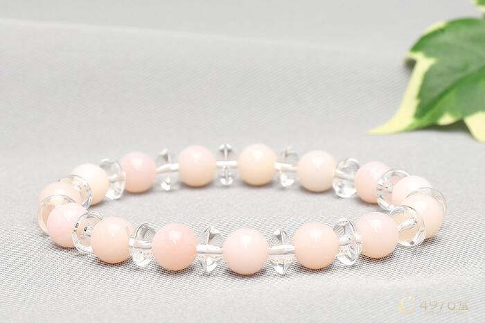 ピンクオパール ブレスレット 水晶ボタン交互