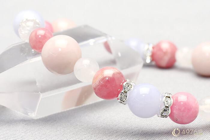 ピンクオパール・ブルーレース・インカローズ ブレスレット