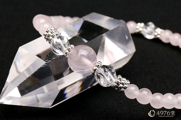 ローズクォーツ・トルネード水晶 ブレスレット