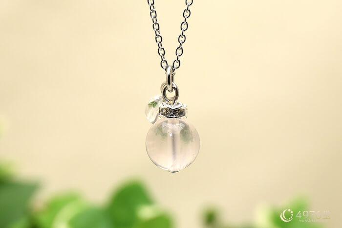 ローズクォーツ・水晶カット ネックレス