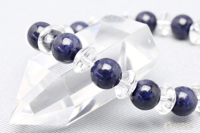 サファイア ブレスレット 水晶ボタン交互